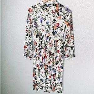 Zara Floral Print Long Sleeve Midi Dress Size 4